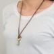 レトロ 鍵 真鍮 ネックレス イニシャル レザーチャーム プレゼント ギフト キー 可愛い お揃い