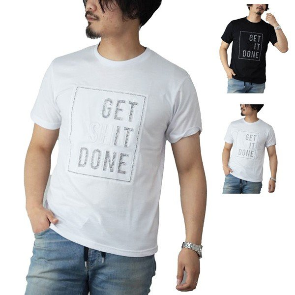ロゴ柄エンボスプリント半袖Tシャツ