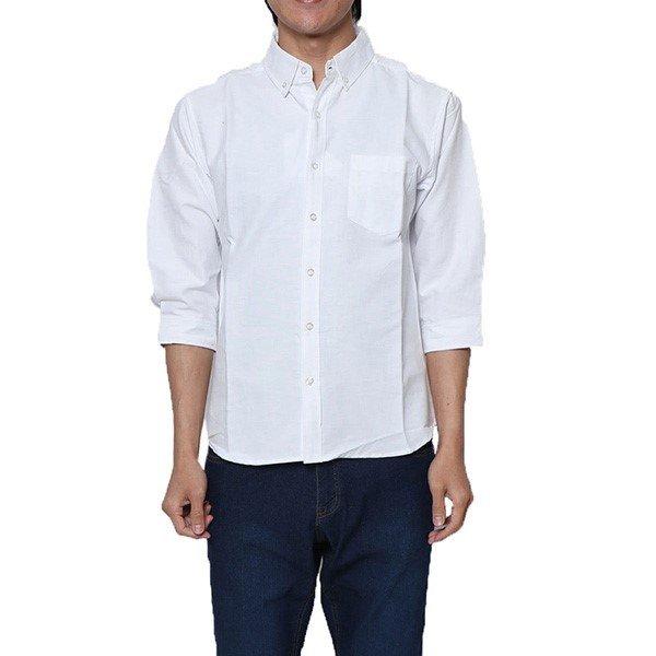オックスフォード7分袖ボタンダウンシャツ