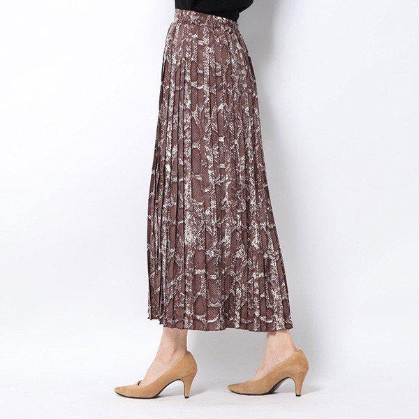 ポプリンパイソン柄プリーツスカート