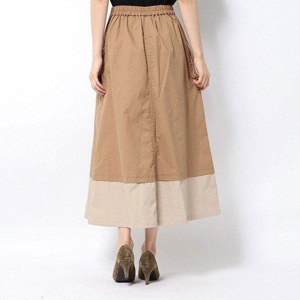 綿ツイル配色フレアロングスカート