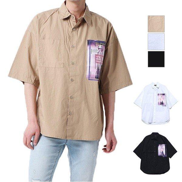 フォト付きタイプライター半袖ビッグシャツ