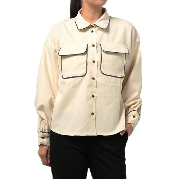 起毛ツイル合皮パイピングシャツ