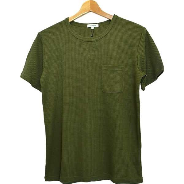 ワッフルクルーネックポケットTシャツ
