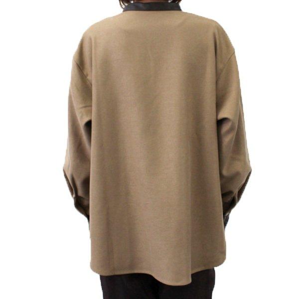 起毛ツイル合皮パイピングスタンドカラーシャツ