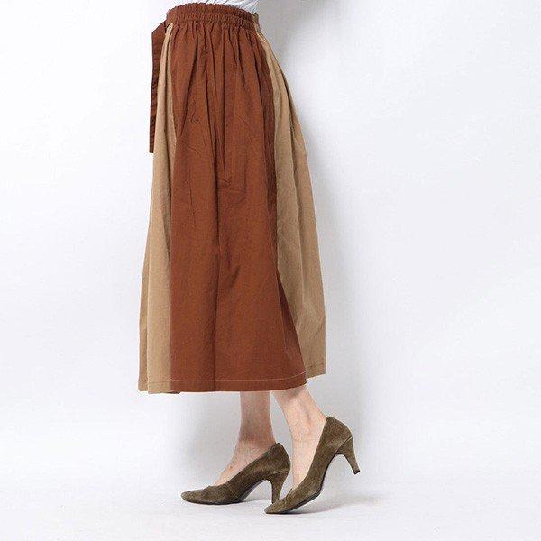 綿ツイル配色アシンメトリースカート