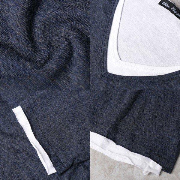 リアルレイヤードVネックロングTシャツ
