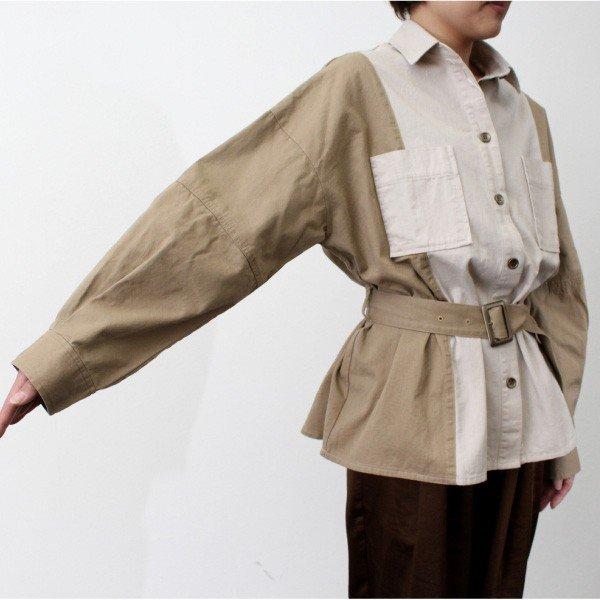 ツイル配色ミリタリーシャツ