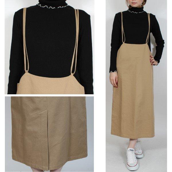 綿ツイルバッククロスキャミハイウエストスカート