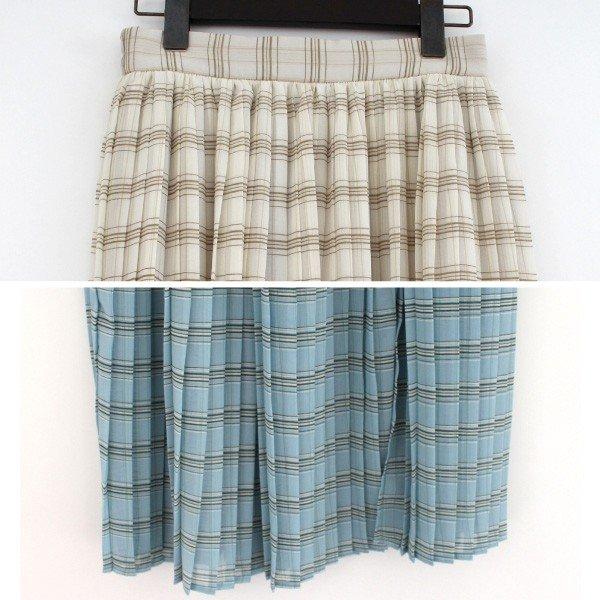 シフォンチェック柄プリーツスカート
