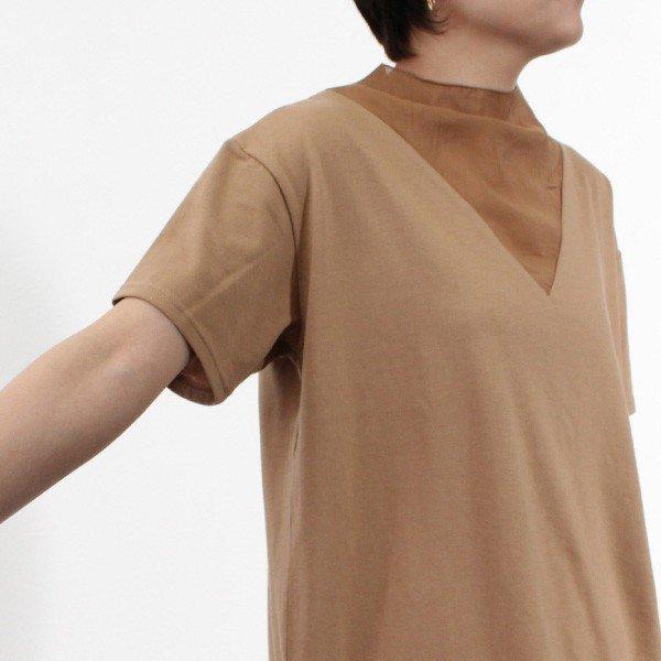 天竺×シアーポプリン切替Tシャツ