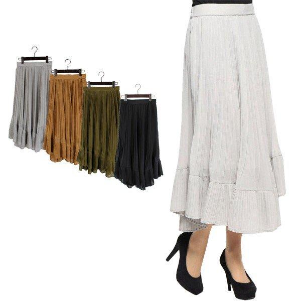 シフォンプリーツ切替スカート