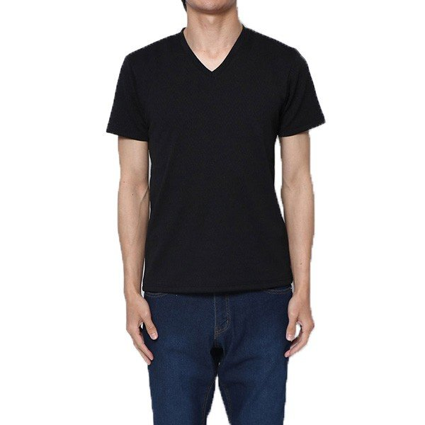 フクレジャガードへリンボン柄VネックTシャツ