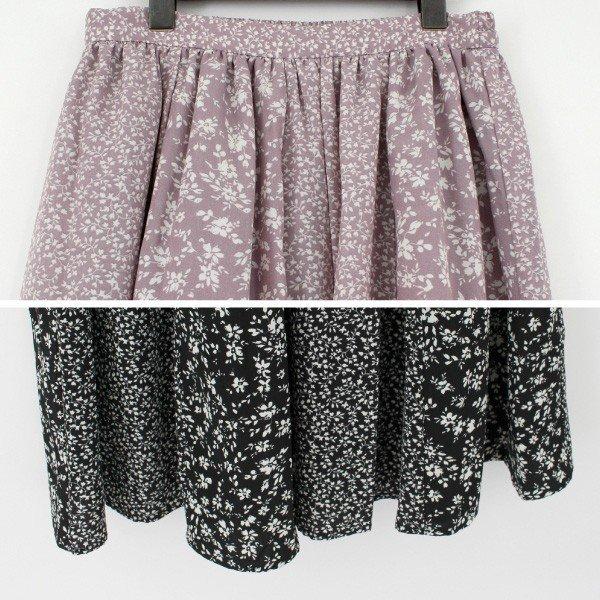 花柄プリントパターン切替スカート