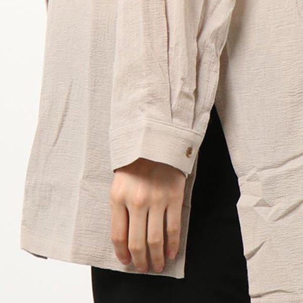 綿楊柳バンドカラーシャツ