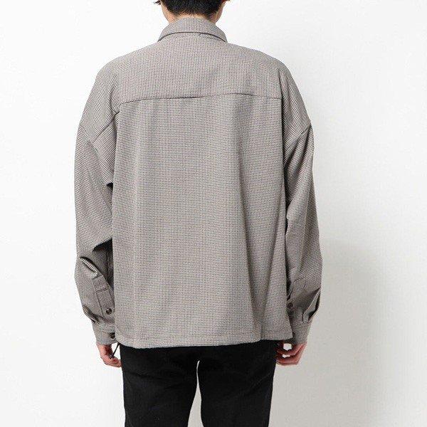チェック柄裾スピンドルワイドシャツ