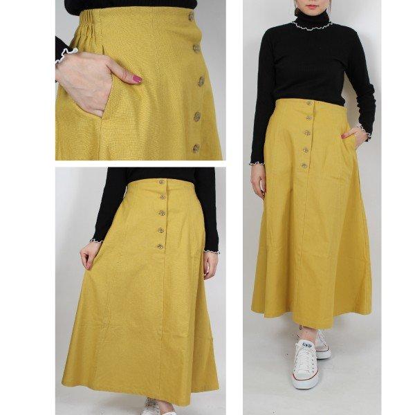 綿プリペラフレアロングスカート