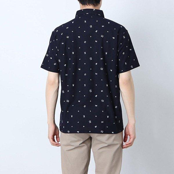 梨地総柄プリントポロシャツ