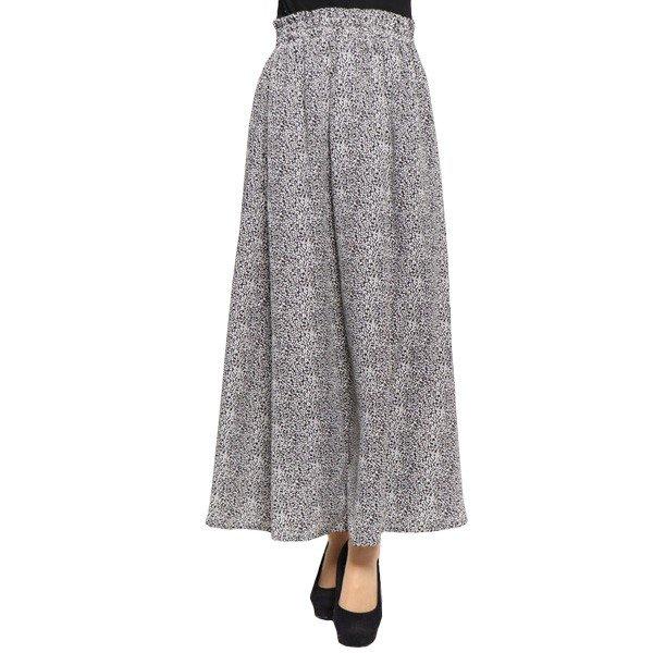 ポプリンレオパード柄ギャザーマキシスカート
