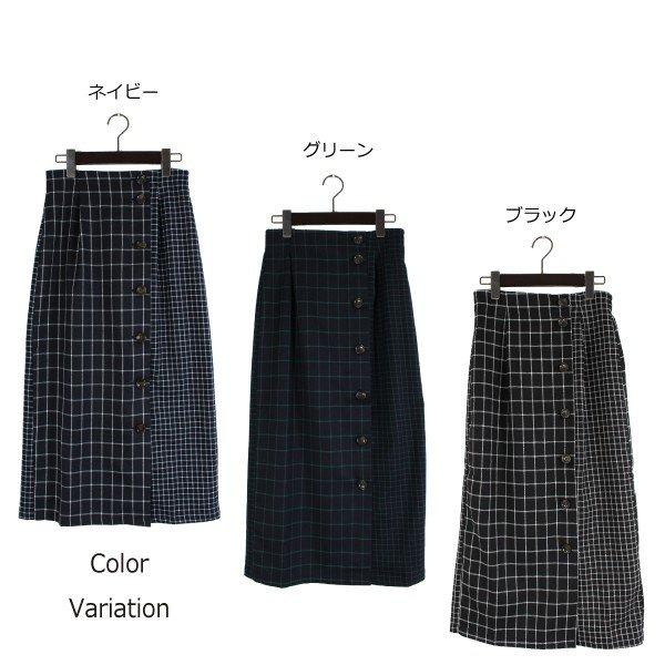 ウィンドウペンチェック柄切り替えタイトスカート