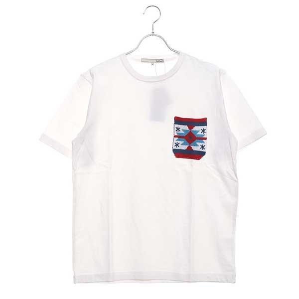 空紡糸天竺ジャガードニットポケットTシャツ