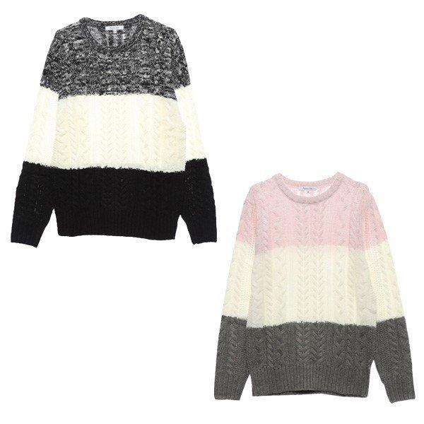 アクリル総ケーブル編みセーター