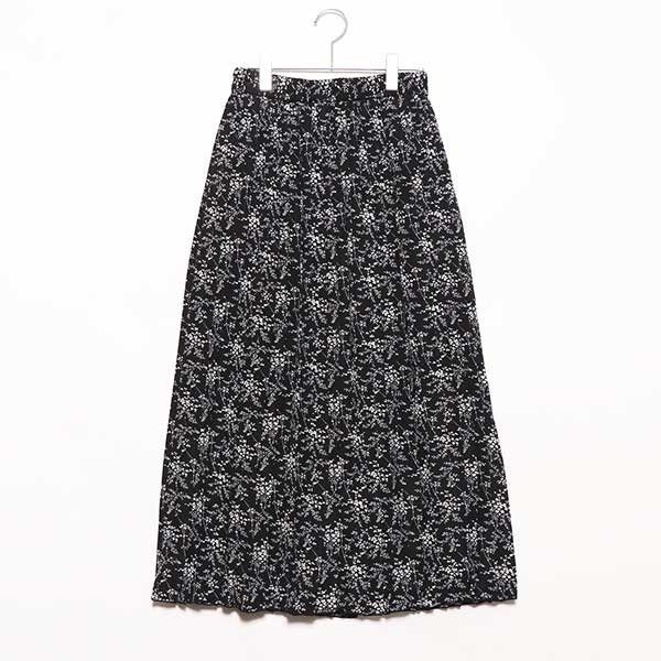 ポプリン花柄プリーツスカート