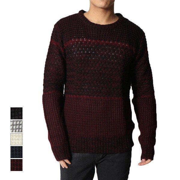 アクリル3段編み変えクルーネックセーター