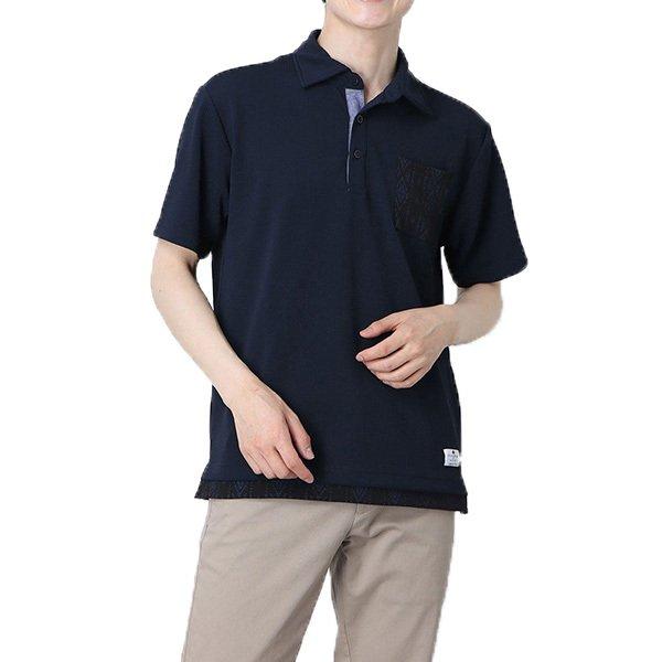 フクレジャガードフェイクレイヤードポロシャツ