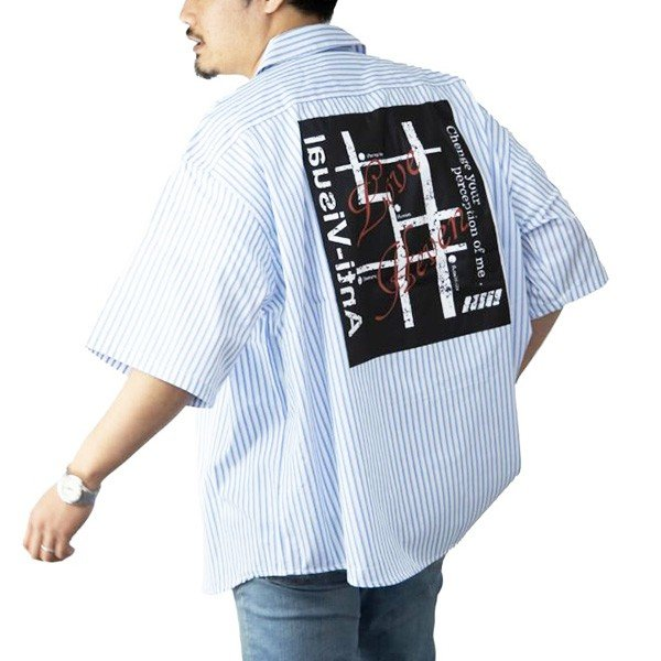 ストライプバックプリント半袖ビッグシャツ