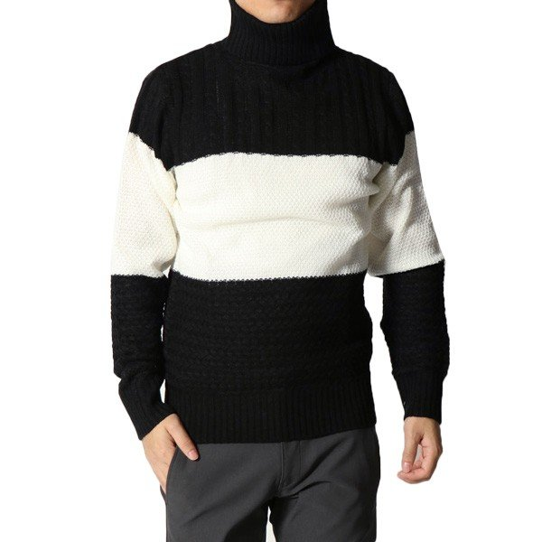 アクリル3段編み変えタートルネックセーター