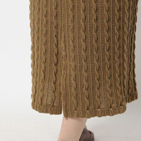 ケーブル編みニットソースリットタイトスカート