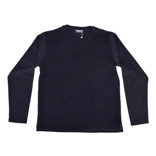 ミニ裏毛前身頃編み変えニット切替Tシャツ