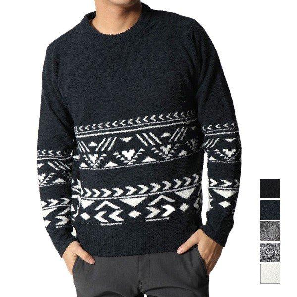 ポリモールエスニックジャカードクルーネックセーター