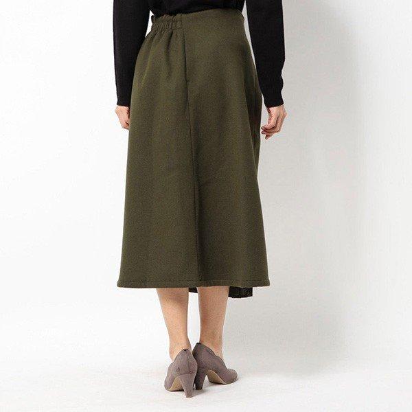フェイクウールプリーツ切替スカート