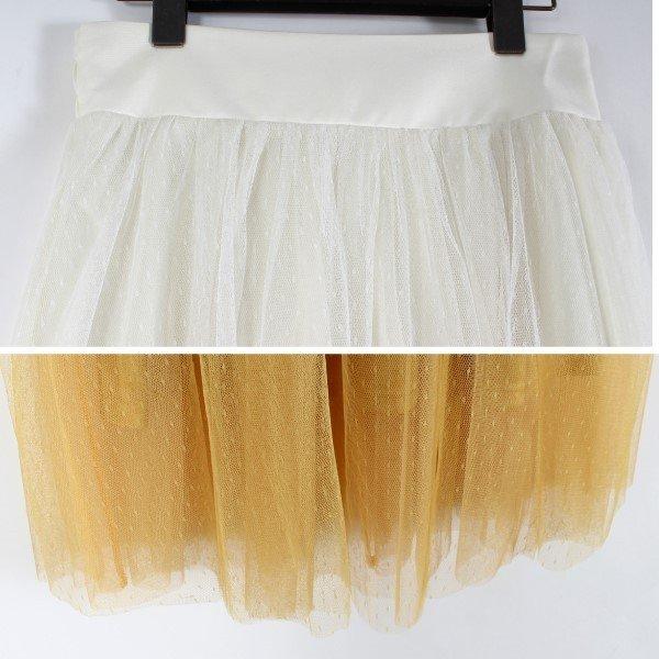 ドットチュールロングギャザースカート