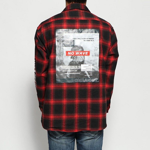 オンブレチェック転写フォトバックプリントルーズフィットシャツ