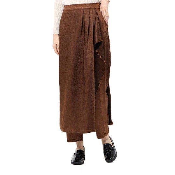 ヴィンテージサテンラップスカートレイヤードパンツ