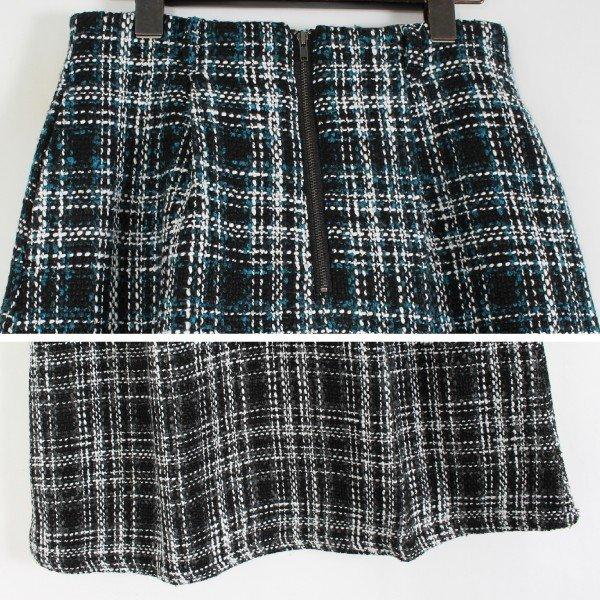 オーバーチェックフロントジップスカート