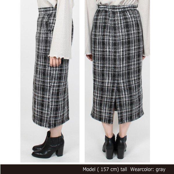 オーバーチェックタイトスカート