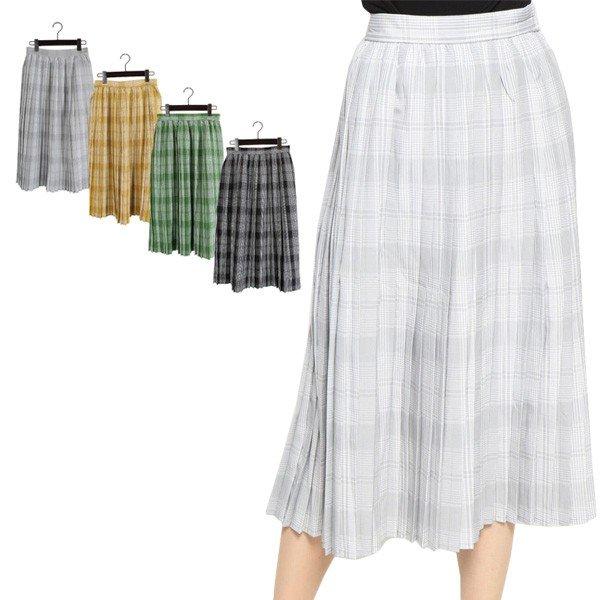 先染めチェックプリーツスカート