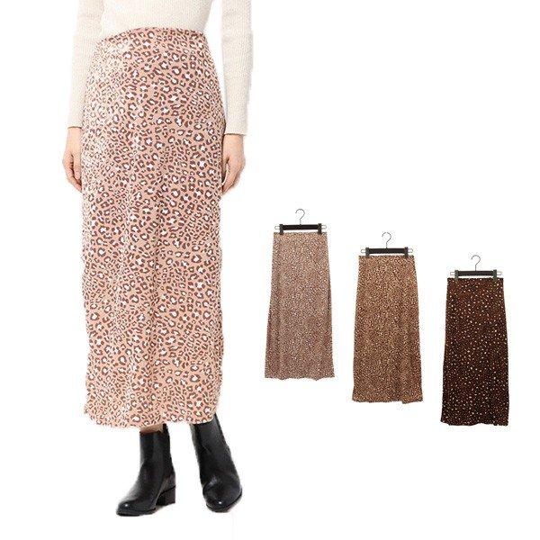 ベロアレオパードストレートスカート