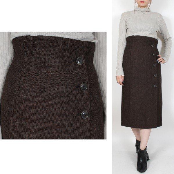 ヘリンボーンハイウエストフロント釦スカート