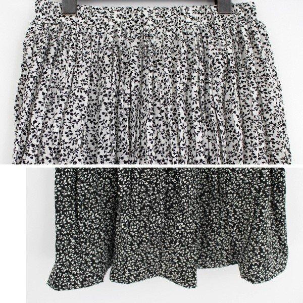 ポプリン花柄ランダムプリーツスカート