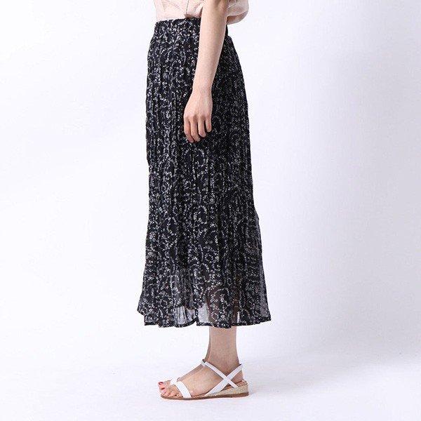 シフォン花柄ランダムプリーツスカート