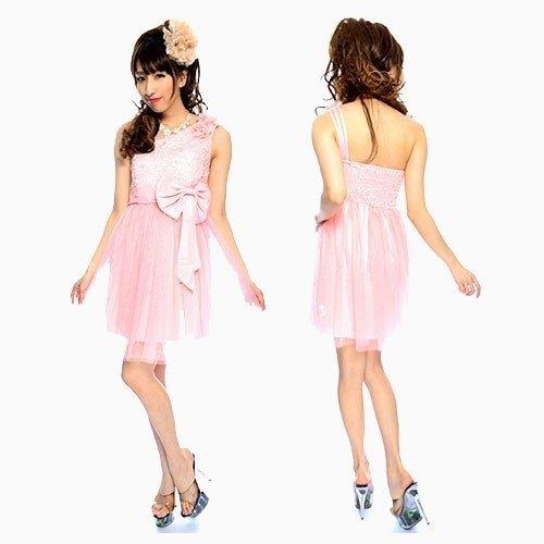 ワンショルダーリボン付ミニパーティ—ドレス