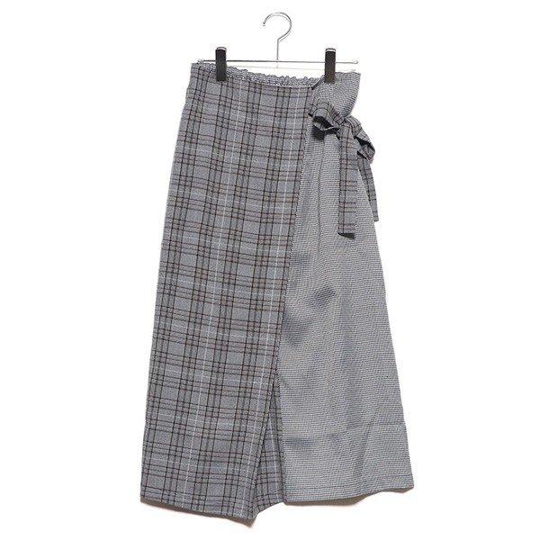 先染めチェック柄切り替えラップ風スカート