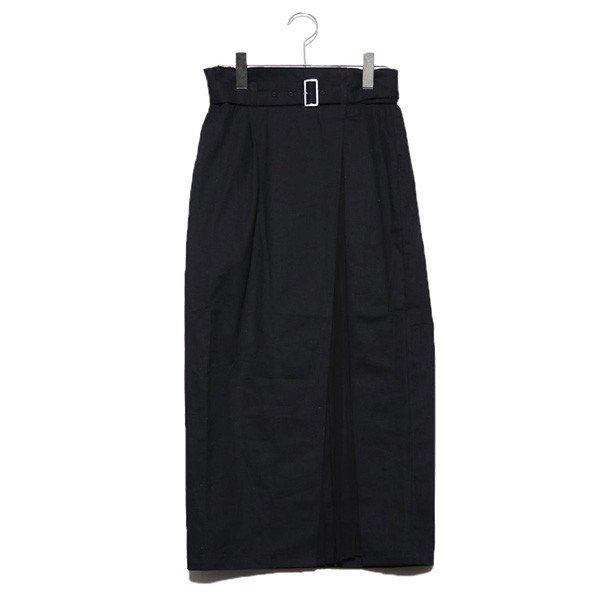 ツイル×シフォンプリーツ切替スカート