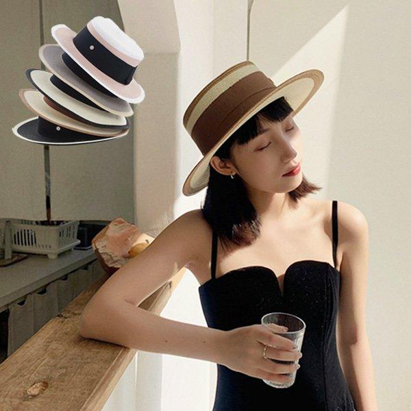 ストロー素材カンカン帽