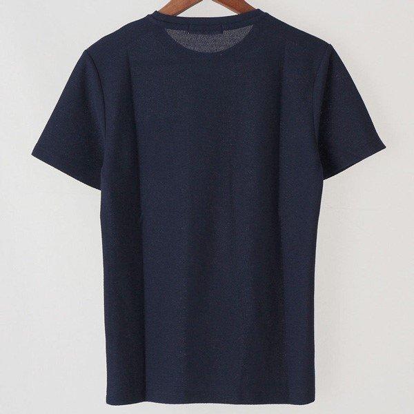 梨地織りクルーネックポケット付半袖Tシャツ